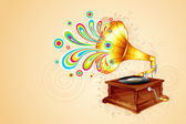 Antique Gramophone — Stock Vector