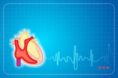 Lifeline coming out of Heart — Stock Vector