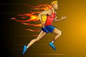 Fiery Runner — Stock Vector