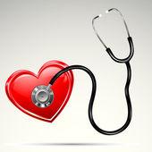 Stethescope on Heart — Stock Vector