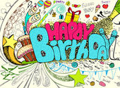Doodle γενέθλια — Διανυσματικό Αρχείο