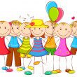 Royalty-Free Stock Vector Image: Kids standing with Balloon