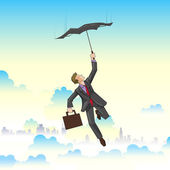 Businessman flying on Umbrella — Stock Vector