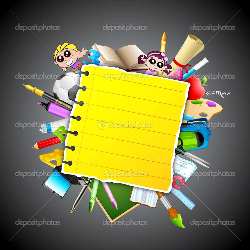 Illustration of school object popping out behind paper — Stock Vector #9567450