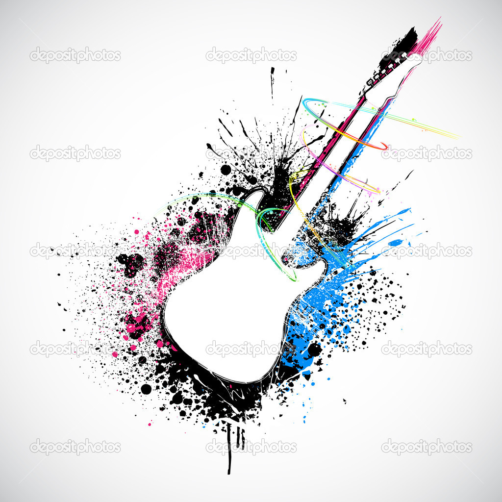 Illustration of guitar shape with colorful grungy splash — Stock Vector #9569803