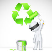 3d Man in Vector painting Recycle — Stock Vector