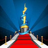 赤いカーペットの上の映画賞 — ストックベクタ