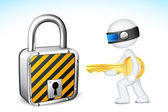 3d Man with Lock and Key — Stock Vector
