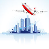 Flying Airplane on City Scape — Stock Vector
