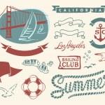 set Vintage náutica — Vector de stock