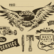 Vintage eagle and auto-moto parts — Stockvectorbeeld