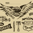 Vintage eagle and auto-moto parts — Imagen vectorial