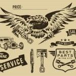 Vintage eagle and auto-moto parts — Stock Vector