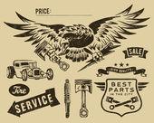 Piezas vintage de águila y auto-moto — Vector de stock