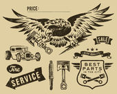 Vintage eagle and auto-moto parts — Vector de stock
