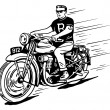 Stock Vector: Rebel on vintage motorcycle