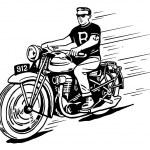 Rebel on vintage motorcycle — Stock Vector #9158278