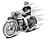 Rebel on vintage motorcycle — Stock Vector