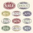 Vintage sale icons set — Stock Vector #9384235