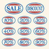 Vintage sale icons set — Stock Vector