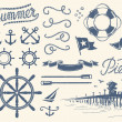 Stock Vector: Vintage nautical set
