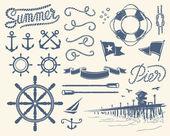 Vintage deniz set — Stok Vektör