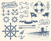 Vintage nautical set — Wektor stockowy