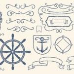 Nautical decoration set — Stock Vector