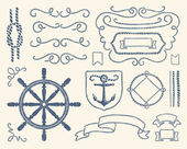 Nautical decoration set — Stock Vector