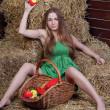 Beautiful girl on hay with basket of apples - Stock Photo