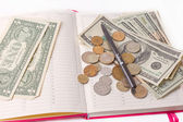 Diary with money and pen isolated — Stock Photo