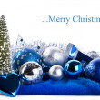 Composition of the blue christmas balls — Foto Stock