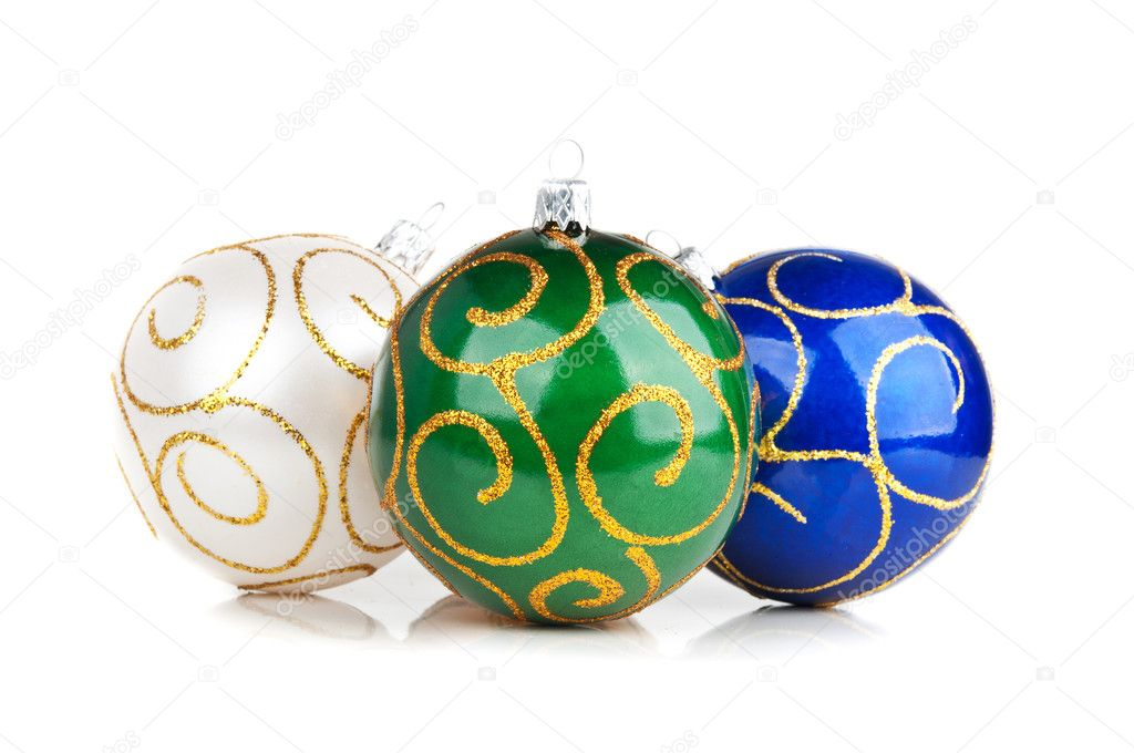 Three christmas balls isolated on a white background  Stock Photo #8669412