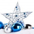 Blue christmas balls and star — Stock Photo