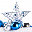 Stock Photo: Blue christmas balls and star