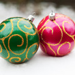 Christmas balls in the snow — Foto Stock