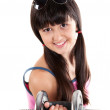Funny girl in shirt holding dumbbell — Stock Photo