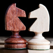 Confrontation of chess pieces — Stock Photo
