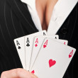 Four poker aces — Stock Photo