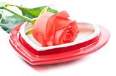 Heart and red rose — Stock Photo