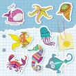 Stock Vector: Marine life in the form of stickers