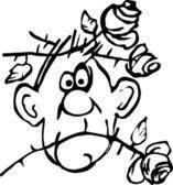Hombre del cuadro de la historieta con rosas en la cabeza. — Vector de stock
