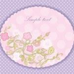 tarjeta de felicitación en un color lavanda. Foto de flores — Vector de stock  #10729938