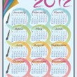 Calendar for 2012 on the sheet in a stack of colored paper.  Week starts on — Stock vektor