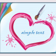 Valentine painted on a sheet of paper with a brush. - Stock Vector