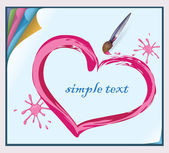 Valentine painted on a sheet of paper with a brush. — Stock Vector