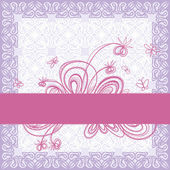Pale lilac decorative background. Ribbon with floral decoration. — Stock Vector