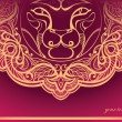 Golden Lion. Decorated mane. - Stock Vector
