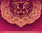 Golden Lion. Decorated mane. — Stock Vector