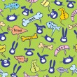 Royalty-Free Stock Imagen vectorial: Seamless group of cats, dogs, rabbits and caterpillars.